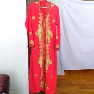 Gold & red authentic Moroccan sheer kaftan